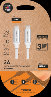 CABLE T1T PD 3.0 USB-C/USB-C 1M 3A BLANCO